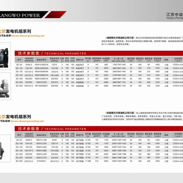 潍柴斯太尔、杭发斯太尔柴油发电机组详细参数表